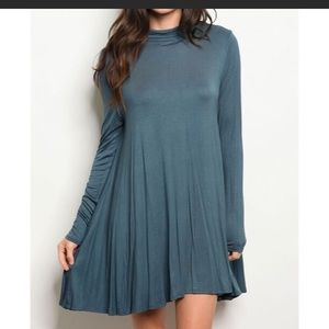 Lightweight Mock-neck Dress in Teal
